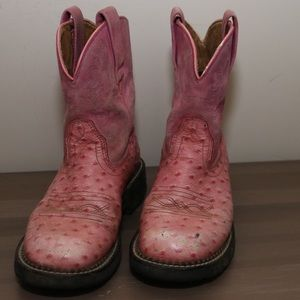 Ariat Pink Suede and Ostrich Western Boot
